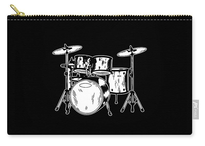 Drummer Carry-all Pouch featuring the digital art Tempo Music Band Percussion Drum Set Drummer Gift by Haselshirt