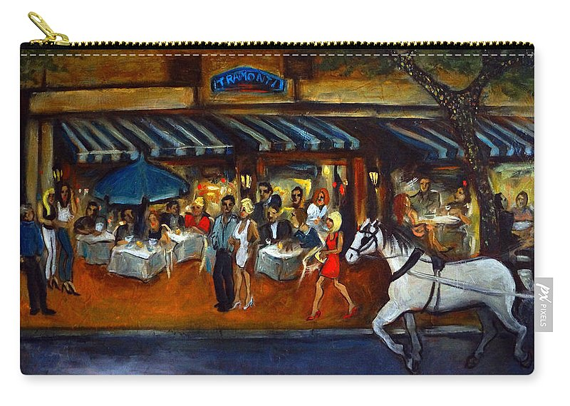 Street Scene Carry-all Pouch featuring the painting The Avenue by Valerie Vescovi