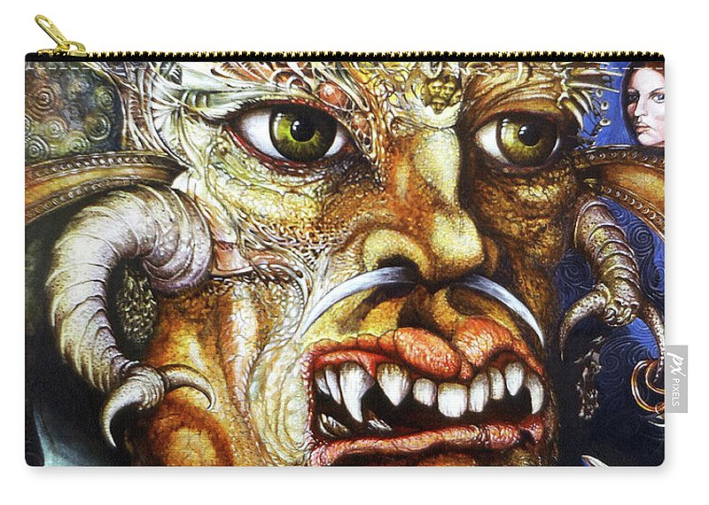 Surrealism Fantastic+realism Mythology Myth Beast Religion Carry-all Pouch featuring the painting The Beast Of Babylon II by Otto Rapp