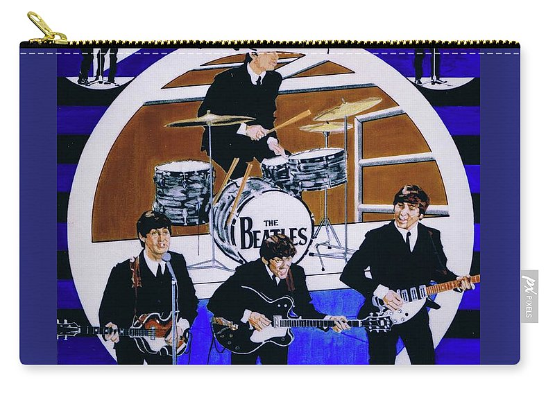 The Beatles Live Carry-all Pouch featuring the drawing The Beatles - Live On The Ed Sullivan Show by Sean Connolly
