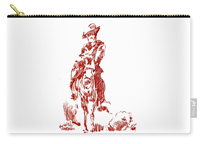 The Big Sky Rider Carry-all Pouch featuring the drawing The Big Sky Rider by Seth Weaver