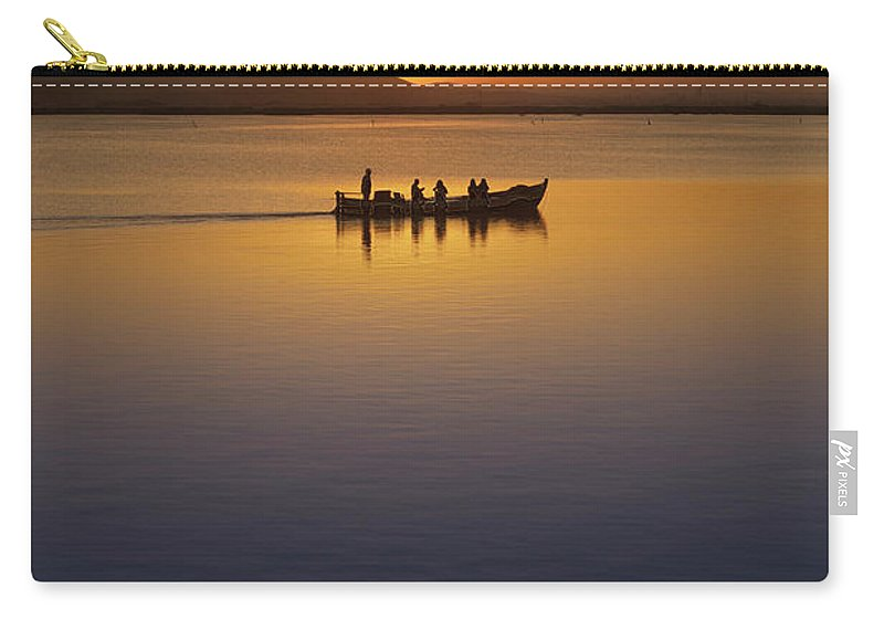 Blue Carry-all Pouch featuring the photograph The Boat At Sunset by Vicente Sargues