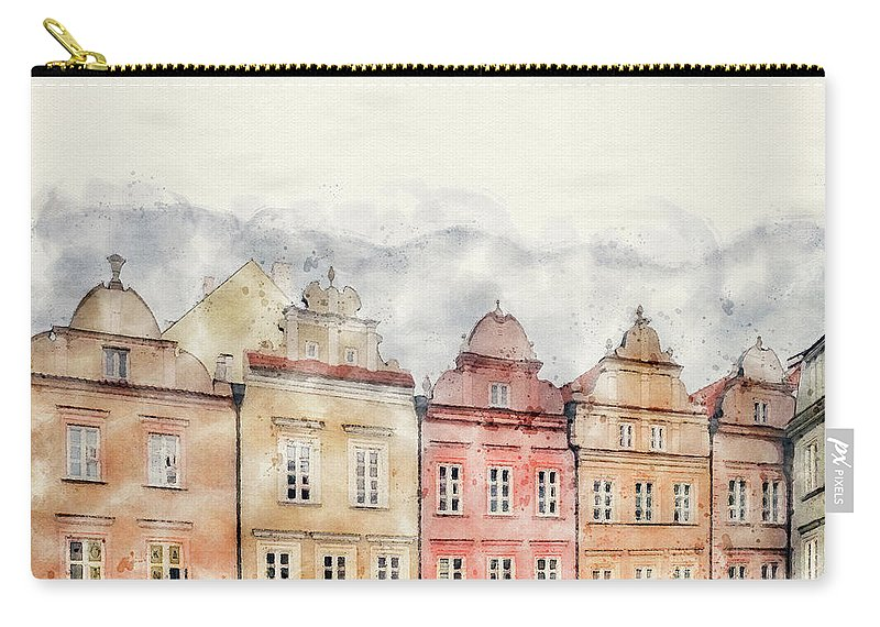 Warsaw Poland Carry-all Pouch featuring the mixed media The Colours Of Warsaw by Smart Aviation