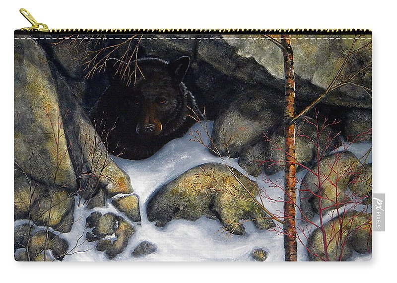 Wildlife Carry-all Pouch featuring the painting The Encounter Black Bear by Frank Wilson