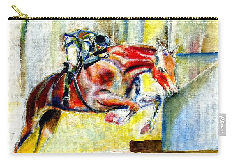 Horse Carry-all Pouch featuring the painting The Equestrian Horse and Rider by Tom Conway