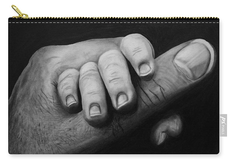 The Grip Carry-all Pouch featuring the drawing The Grip by Peter Piatt