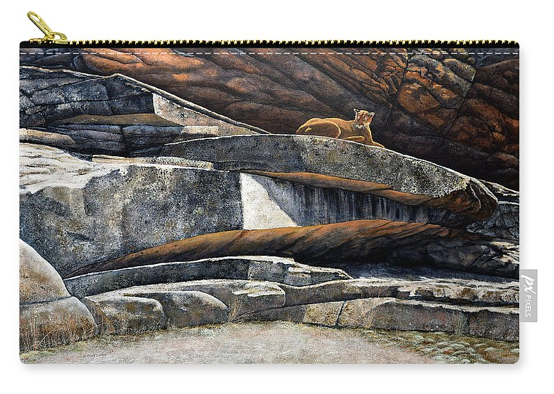 Wildlife Carry-all Pouch featuring the painting The Loner Cougar by Frank Wilson