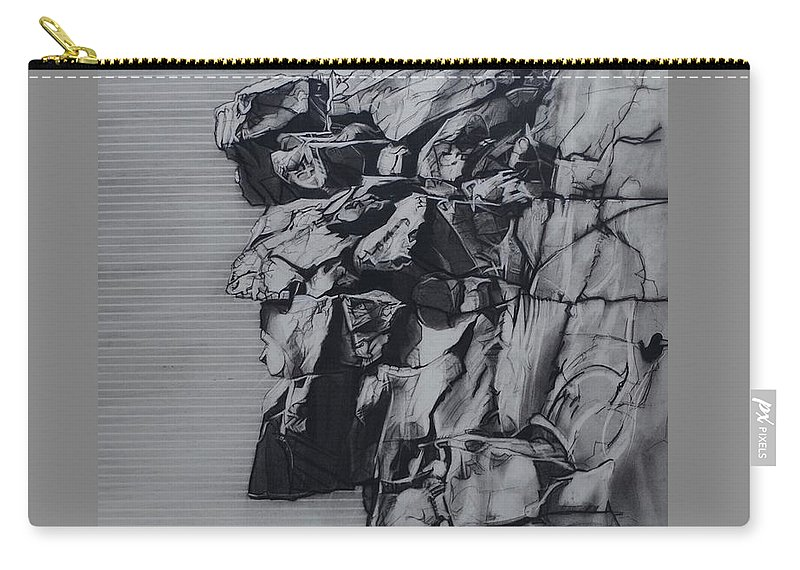 Charcoal On Paper Carry-all Pouch featuring the drawing The Old Man Of The Mountain by Sean Connolly