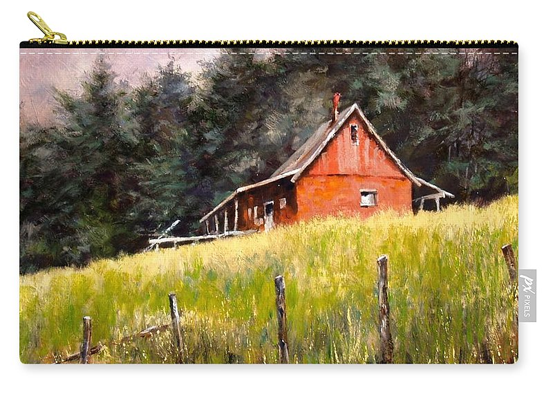 Landscape Carry-all Pouch featuring the painting The Red Coach Stop by Jim Gola