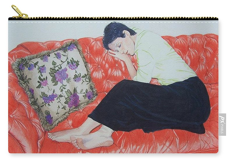 Red Carry-all Pouch featuring the mixed media The red sofa by Constance Drescher