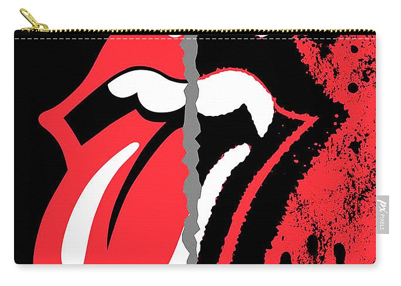 The Rolling Stones Carry-all Pouch featuring the digital art The Rolling Stones No Filter by Trindira A