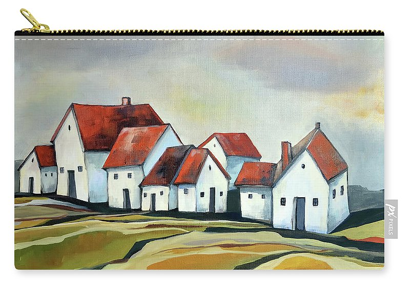 Village Carry-all Pouch featuring the painting The smallest village by Aniko Hencz