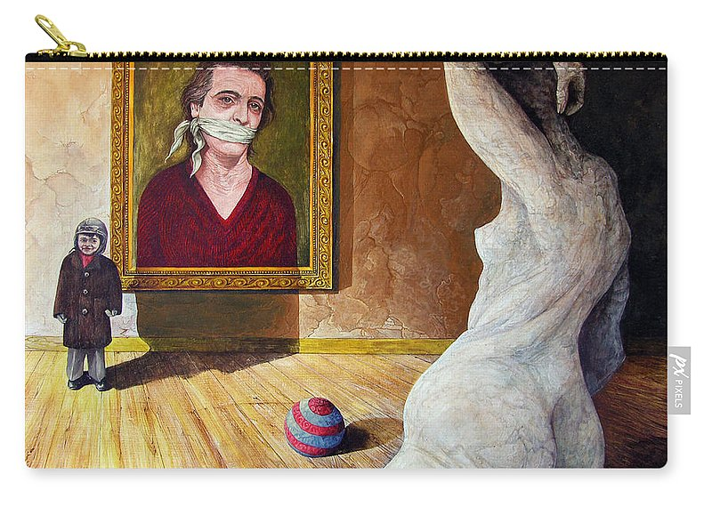 Surrealism Carry-all Pouch featuring the painting The Visitor by Otto Rapp