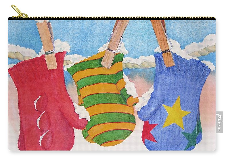 Christmas Card Carry-all Pouch featuring the painting Three Little Mittens by Mary Ellen Mueller Legault