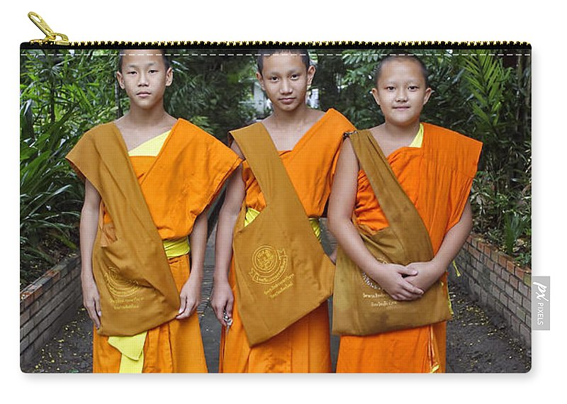 3scape Carry-all Pouch featuring the photograph Three Young Monks by Adam Romanowicz
