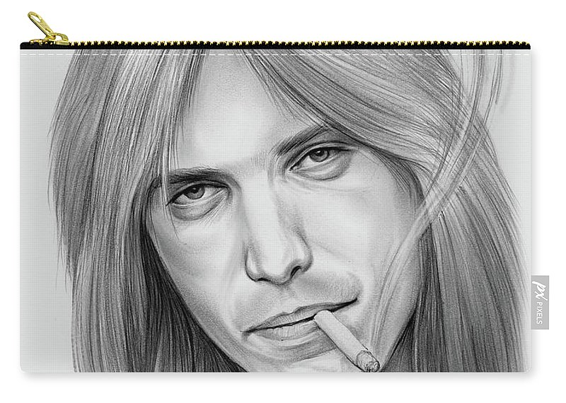 Tom Petty Carry-all Pouch featuring the drawing Tom Petty - Pencil by Greg Joens
