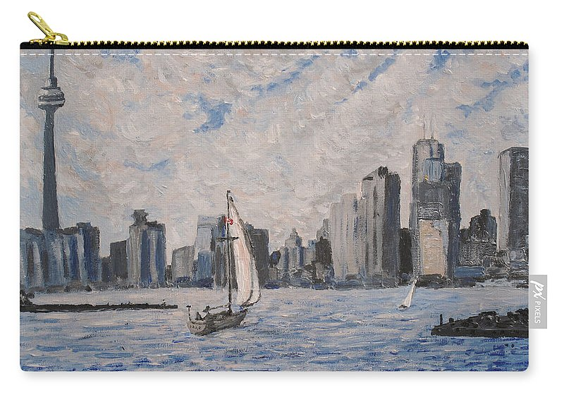 Toronto Carry-all Pouch featuring the painting Toronto Harbor East Gap by Ian MacDonald