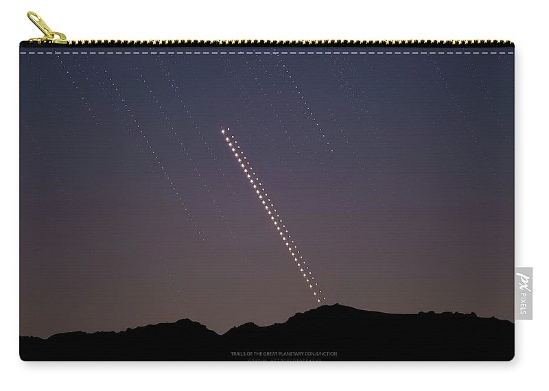 Carry-all Pouch featuring the photograph Trails of the Great Planetary Conjunction by Prabhu Astrophotography