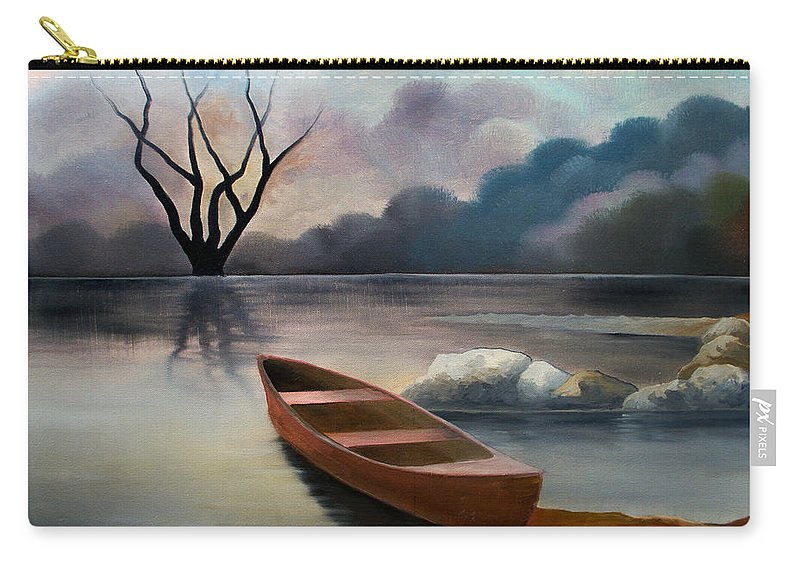 Duck Carry-all Pouch featuring the painting Tranquility by Sergey Bezhinets