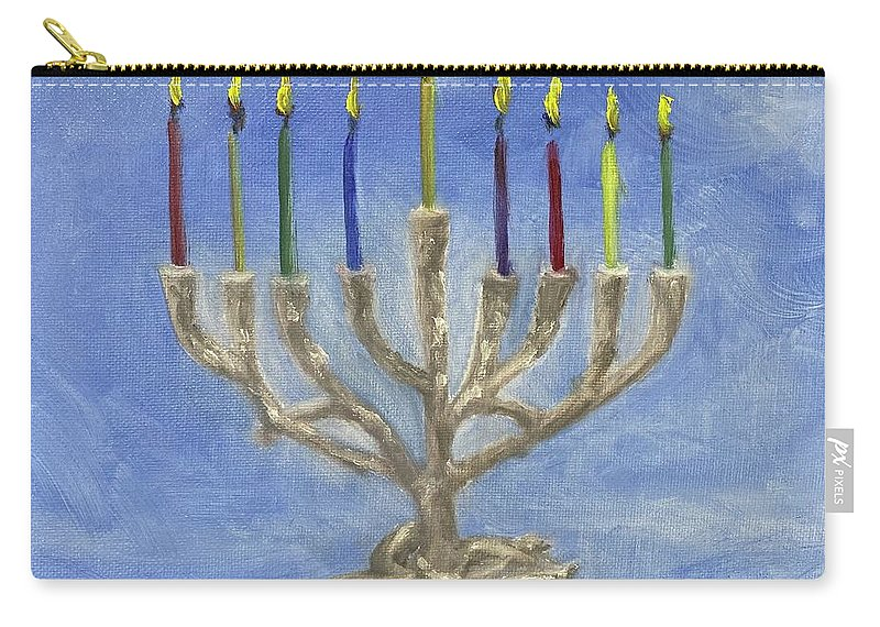 Chanukah Carry-all Pouch featuring the painting Tree of Life Menorah by Sheila Mashaw
