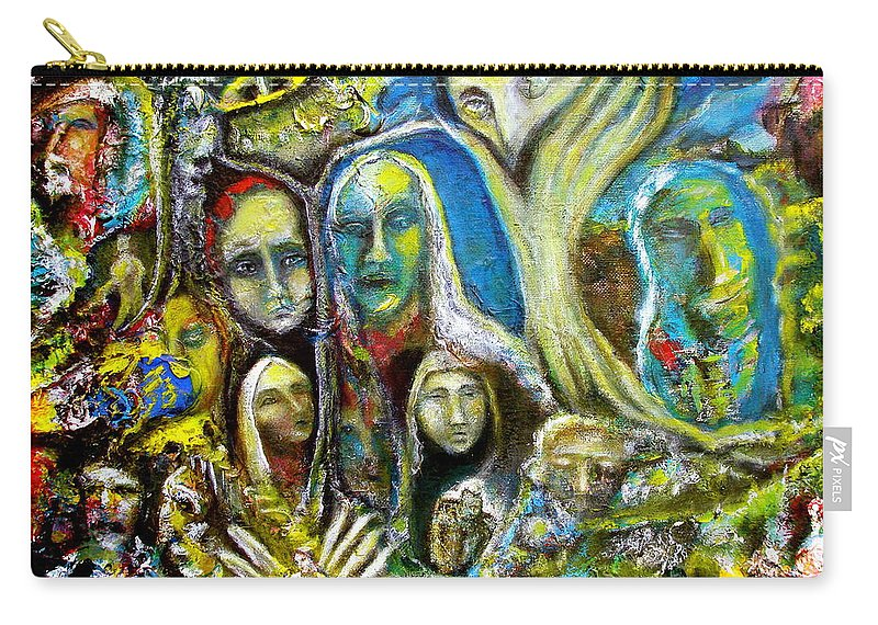 Acrylics Carry-all Pouch featuring the painting Tree People by Kicking Bear Productions
