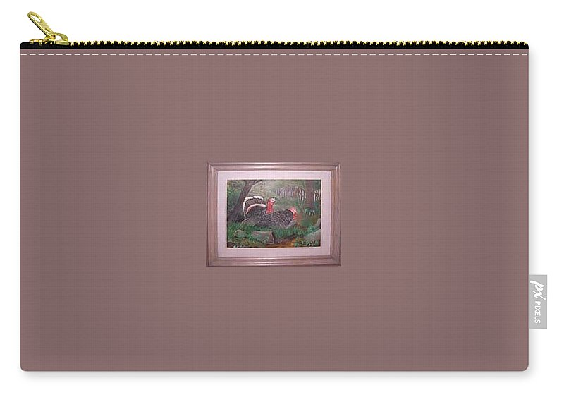 Rick Huotari Carry-all Pouch featuring the painting Turkeys by Rick Huotari