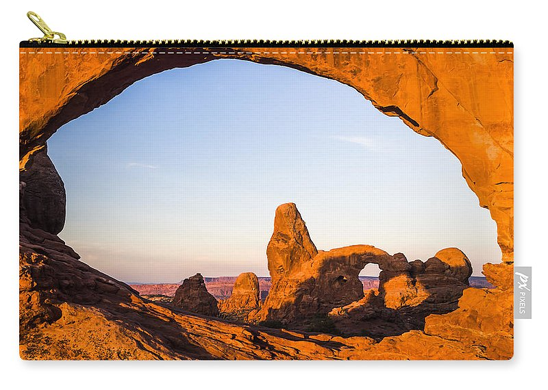 3scape Carry-all Pouch featuring the photograph Turret Arch at Sunrise by Adam Romanowicz