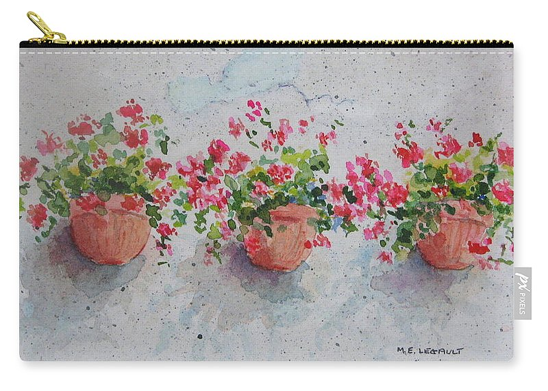Florals Carry-all Pouch featuring the painting Tuscan Flowers by Mary Ellen Mueller Legault