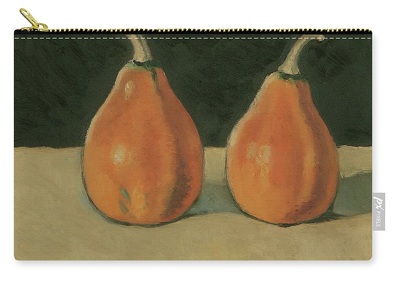 Still-life Pumpkins Orange Carry-all Pouch featuring the painting Two Orange Pumpkins by Raimonda Jatkeviciute-Kasparaviciene