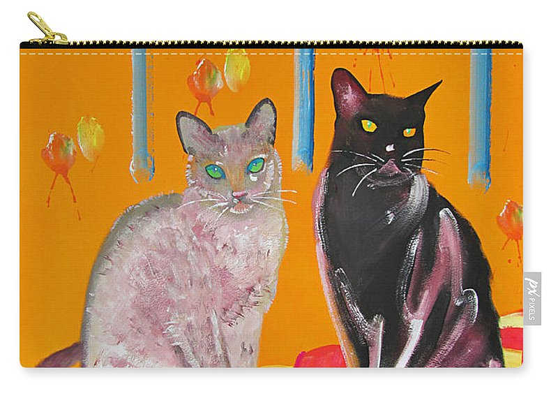 Cats Carry-all Pouch featuring the painting Two Oriental Cats by Charles Stuart
