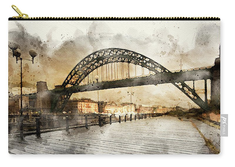 Tyne Bridge Carry-all Pouch featuring the mixed media Tyne Bridge by Smart Aviation
