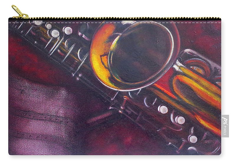 Oil Painting On Canvas Carry-all Pouch featuring the painting Unprotected Sax by Sean Connolly