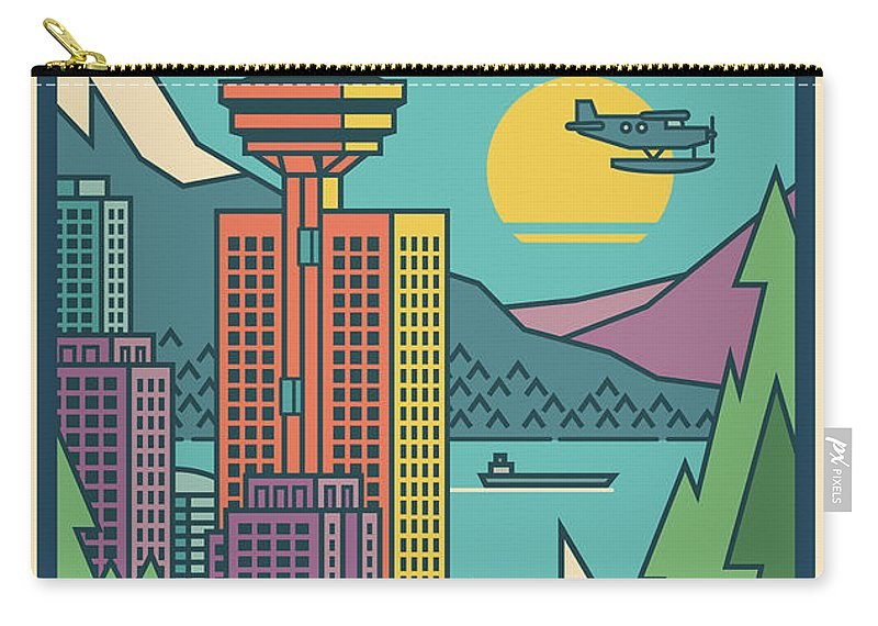 Vancouver Carry-all Pouch featuring the digital art Vancouver Pop Art Poster by Jim Zahniser
