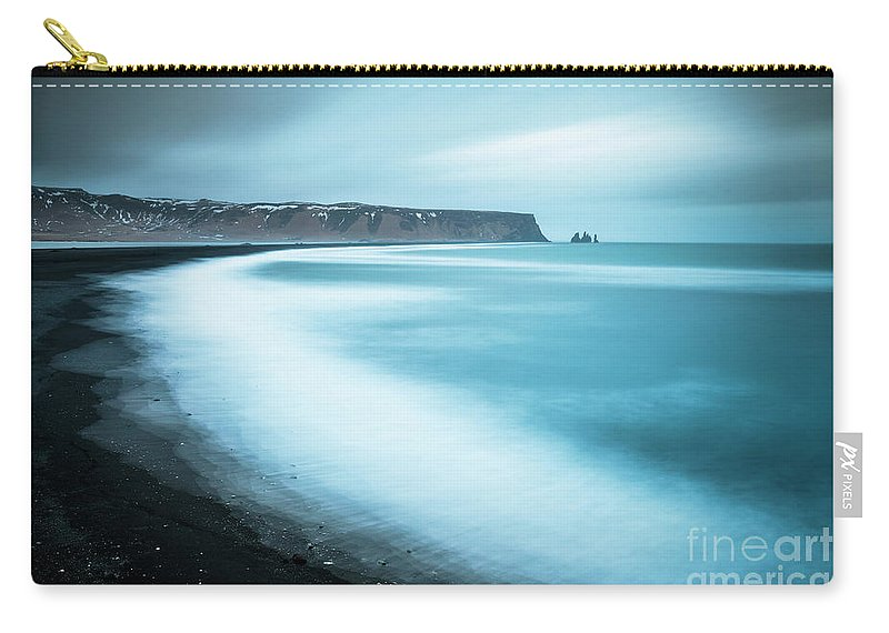 Vik Black Beach Carry-all Pouch featuring the photograph Vik Black Beach And Reynisdrangar Rocks, Iceland by Neale And Judith Clark