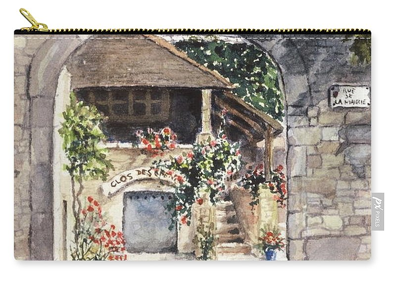 France Carry-all Pouch featuring the painting Vineyard Clos des Epeneaux by Mary Ellen Mueller Legault