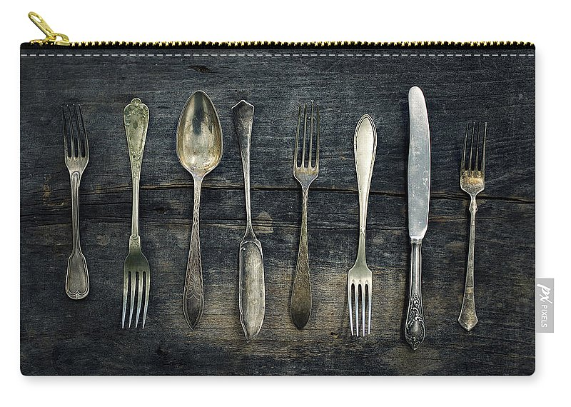 Cutlery Carry-all Pouch featuring the photograph Vintage cutlery by Zoltan Toth