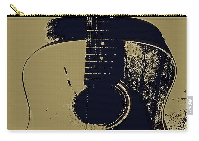 Vintage Guitar Art Carry-all Pouch featuring the photograph Vintage Guitar by Linda Sannuti