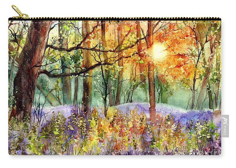 Sunrise Carry-all Pouch featuring the painting Violet Sunrise II by Suzann Sines