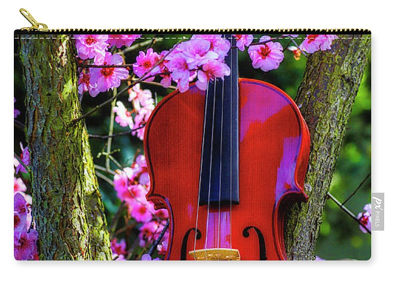 Violin Carry-all Pouch featuring the photograph Violin In Flowering Plum Tree by Garry Gay