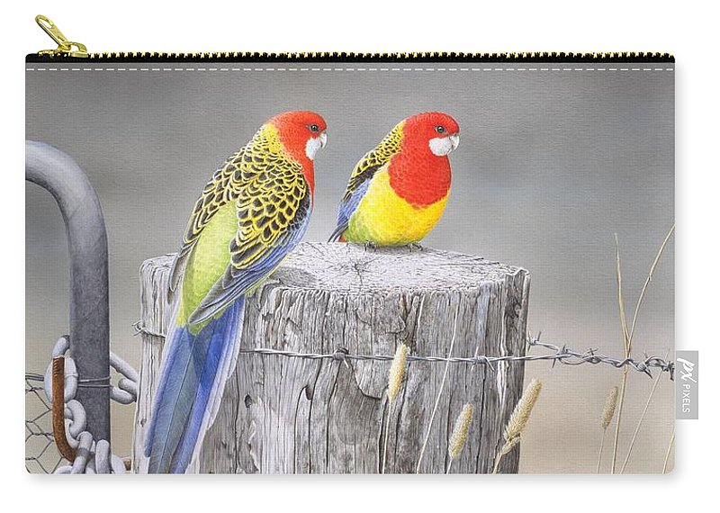 Bird Carry-all Pouch featuring the painting Waiting for the Rains - Eastern Rosellas by Frances McMahon