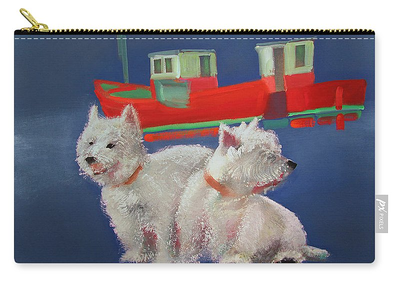 White Terriers Carry-all Pouch featuring the painting Walberswick Red Trawlers by Charles Stuart