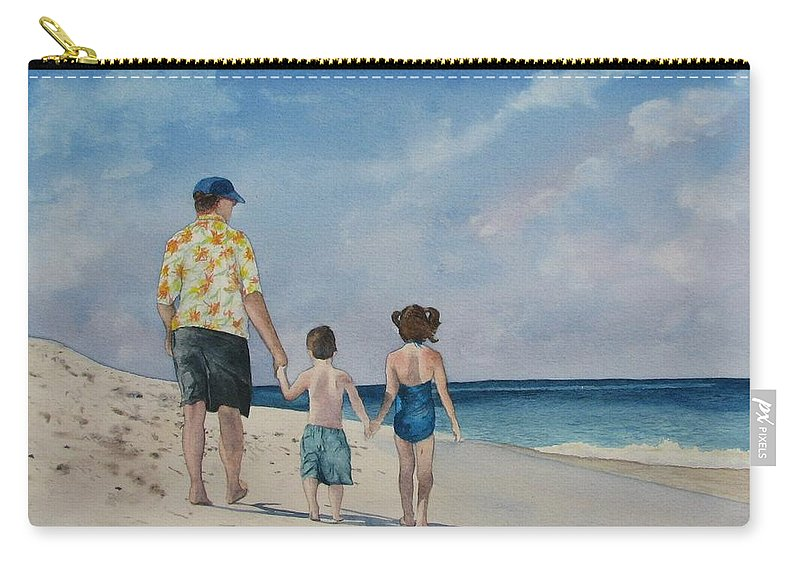 Landscape Carry-all Pouch featuring the painting Walk on the Beach by Sharon Farber