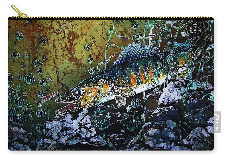 Walleyes Carry-all Pouch featuring the painting Walleye - On the Rocks by Sue Duda