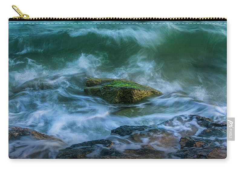 Aqua Carry-all Pouch featuring the photograph Wave On Rocks by Vicente Sargues