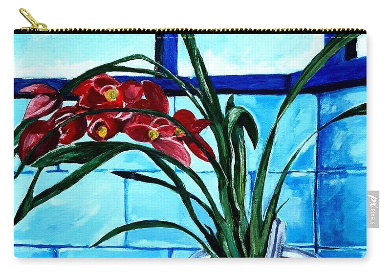 Still Life Carry-all Pouch featuring the painting Welcome Flower by Andrew Johnson