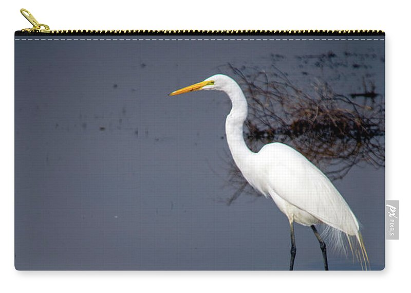 Bird Carry-all Pouch featuring the photograph White Egret Reflection by Frank Wilson
