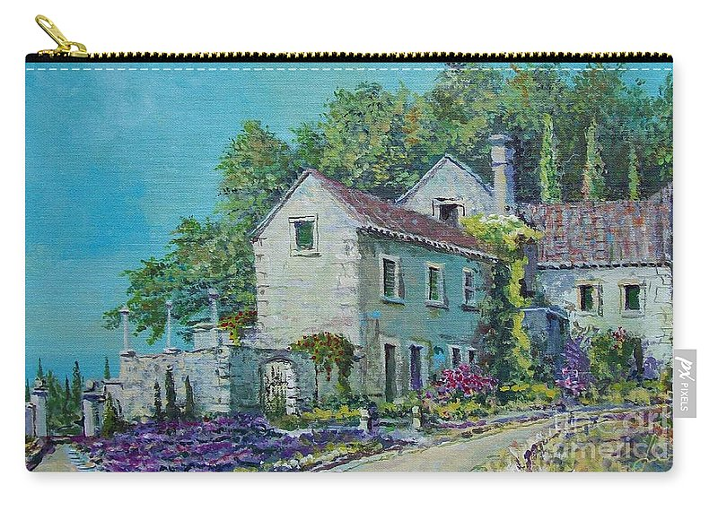 Original Painting Carry-all Pouch featuring the painting Village Vista by Sinisa Saratlic