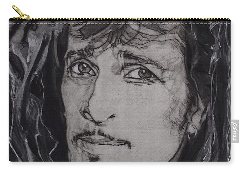 Charcoal On Paper Carry-all Pouch featuring the drawing Willy DeVille - Coup de Grace by Sean Connolly