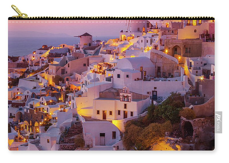 Santorini Oia Carry-all Pouch featuring the photograph Windmill And White Houses At Sunset, Oia, Santorini, Greece by Neale And Judith Clark