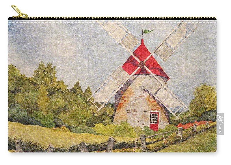 Windmills Carry-all Pouch featuring the painting Windmill on Ile aux Coudres Quebec by Mary Ellen Mueller Legault